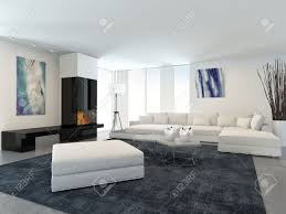 White Modern Living Room Interior Of Modern Living Room In Apartment With Fireplace And