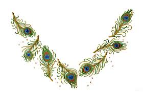 feather jeweled neckline embroidery design