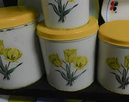 yellow kitchen canisters yellow canister set etsy