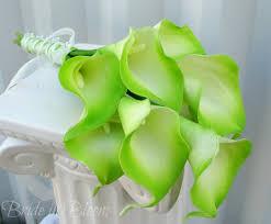 Lime Green Flowers - bridesmaid bouquet wedding bouquet lime green cream calla