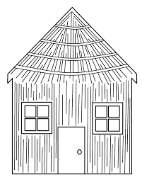 coloring pages of the three little pigs houses in style kids