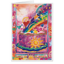 happy birthday cake colorful greeting cards zazzle