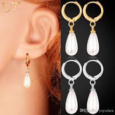 drop pearl earrings 2017 real 18k gold plated water drop pearl clip earrings
