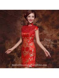 Chinese Wedding Dress Gold Floral Brocade Red Lace Mini Cheongsam Chinese Wedding Dress
