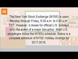 new years nyse hours what time does the stock market