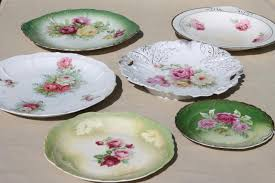 antique china plates green pink roses painted dishes vintage
