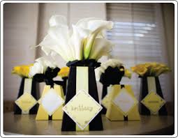 Black Centerpiece Vases by Black White And Yellow Classroom Personalized Black And Yellow
