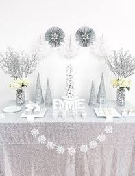 Winter Party Decorations - winter wonderland dessert table guest feature table party