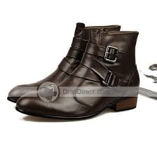 zipper boots s flowing water stylish buckle zipper cow leather s boots