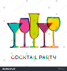 abstract colorful cocktail glasses vector watercolor stock vector
