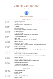 Medical Receptionist Resume Examples by Resume Sample Medical Receptionist