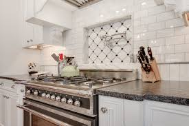Marble Subway Tile Kitchen Backsplash Silver Pearl Leathered Granite Countertop With White Cabinets