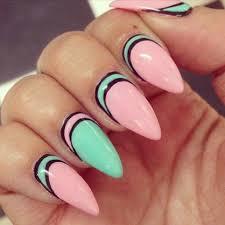 pretty mint green u0026 light pink stiletto nails