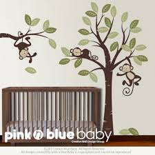 Nursery Monkey Wall Decals Wall Decals Three Monkeys And Tree Nursery Wall Decals