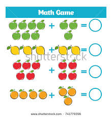mathematics educational game children learning subtraction stock