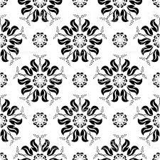 black floral seamless ornament on white background stock vector