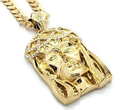 gold big chain necklace images Mens gold tone large crowned jesus iced out pendant with 30 quot 10mm jpg