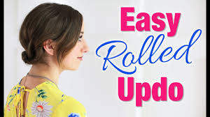 easy diy rolled updo hairstyle short hair tutorial youtube