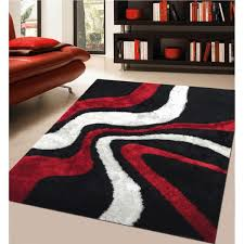 Red And Orange Rug Rug Addiction Hand Tufted Polyester Red And Black Shag Area Rug