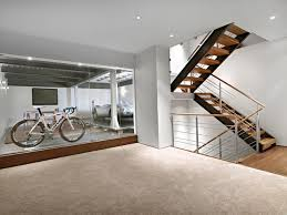 Basement Stairs Design Lower Garage And Stairs Contemporary Basement Edmonton By
