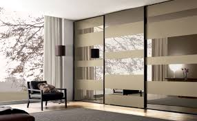 contemporary wardrobe glass lacquered glass sliding door