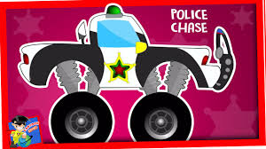 monster truck video for toddlers police car videos for children police chase wash cartoon for
