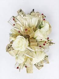 Corsage Wristlets White Spray Roses U0026 Gold Leaf Prom Wristlet Corsage U2013 Flowers On
