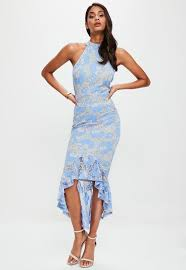 blue dress blue corded lace fishtail high neck dress missguided
