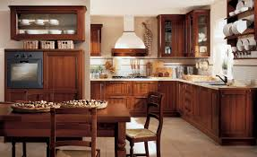 kitchen style open shelves and glass cabinet doors ceramic tile