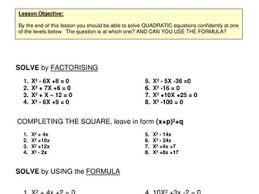 algebra solving quadratic equations bundle 3 methods perfect