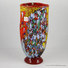 Ruby Vases Murano Millefiori Art Glass Vase Ruby Red Ruby Red Glass And