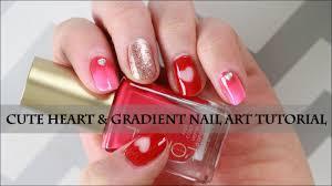 cute heart u0026 gradient nail art tutorial for short nails