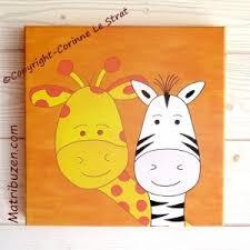 tableau chambre bébé tableau chambre enfant animaux jungle savane girafe et zèbre