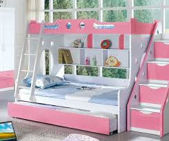 Headboard Bookshelf Bedroom Pink And White Solid Wood Bunk Bed For Bedroom With