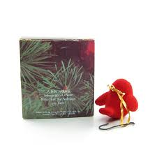 merry redbird ornament vintage hallmark 1980 tree