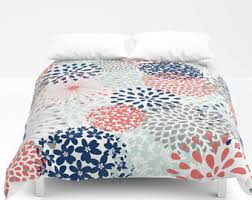 Blue And Coral Bedding Coral Duvet Cover Etsy