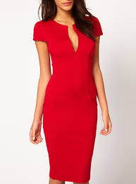 midi bodycon dress red v neckline knee length cap sleeve