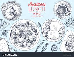 business lunch top view frame food stock vector 648307771