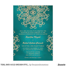 hindu engagement invitations teal and gold indian style wedding invitation i thee wed