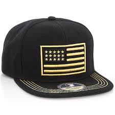 American Flag Flat Bill Hat Usa Flag Silver And Gold Embroidered Snapback Cap Hat
