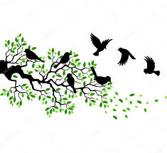 tree silhouette with birds flying stock vector tigatelu 64114947