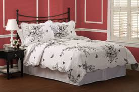 Black And White Toile Duvet Cover Meadow Black U0026 White Toile Quilt Set
