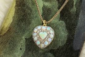 shaped necklace images Opal and diamond heart shaped pendant necklace fd gallery jpg