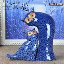 Statue For Home Decoration Retro Blue Ceramic Owl Statue Home Decor Handicraft Vintage