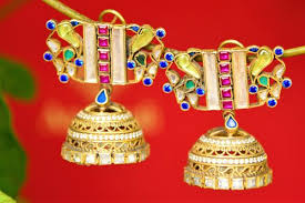buy jhumka earrings online buy online silver gold plated colored glass and pearl jhumka earrings