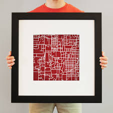 Uark Campus Map University Of Arkansas Campus Map Art City Prints