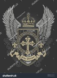 Gray And Gold Cross Wing Shield Gray Gold Vectores En Stock 84606967 Shutterstock
