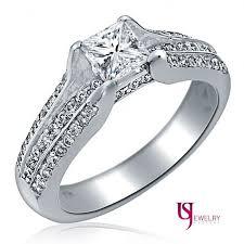 engagement rings princess cut white gold 1 carat genuine engagement ring princess cut solitaire