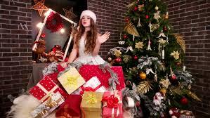 holiday christmas scene gift under the christmas tree stock
