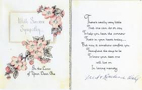 sympathy card wording sympathy card april 1957 fred roseline wall to doris flickr
